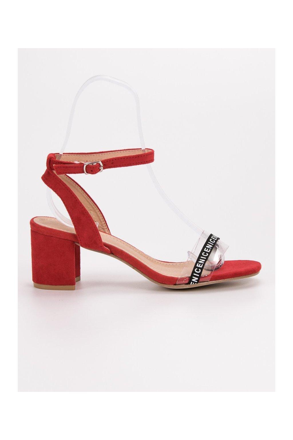 Červené dámske sandále na stĺpiku Ideal shoes S-7347R
