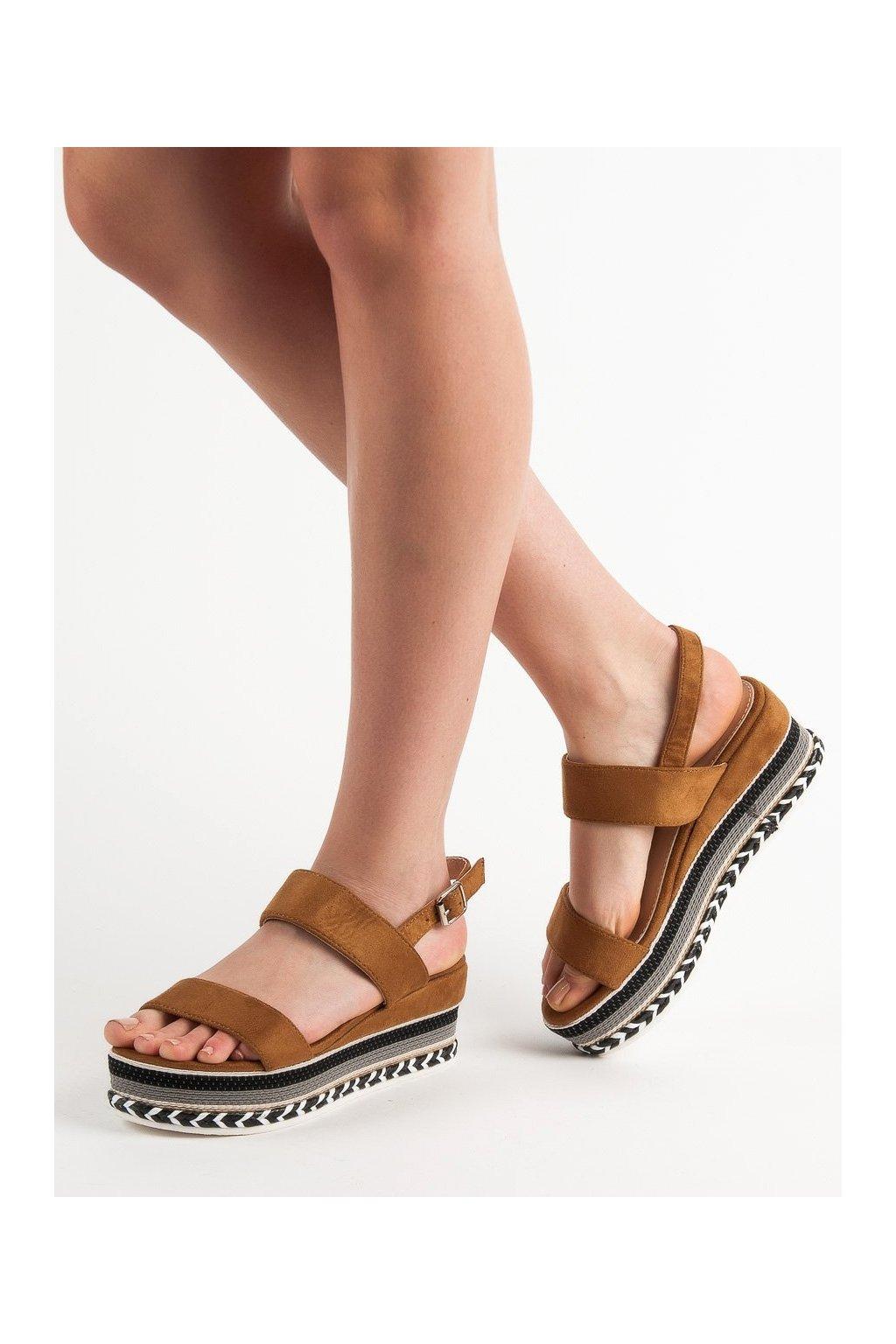 Hnedé sandále na platforme Primavera 9073C
