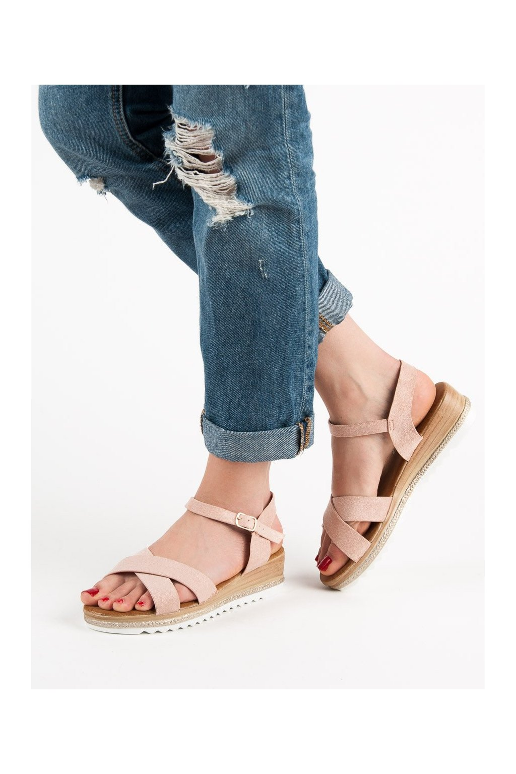 Ružové sandále na platforme Bello star S72P