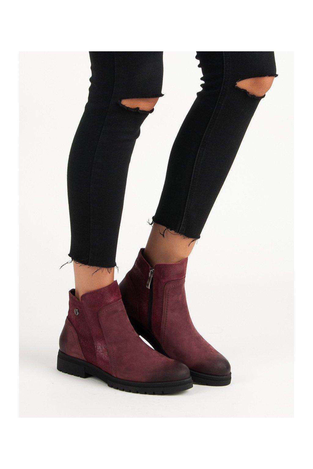 Červené dámske topánky na plochom podpätku Vinceza kod WZ1271/5BUR