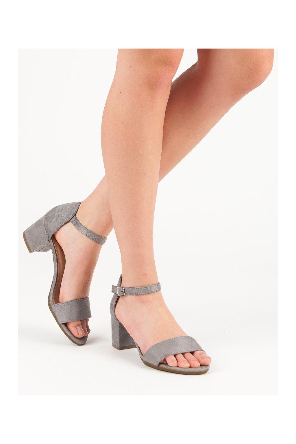 Sivé sandále na podpätku Filippo kod DS787/18G