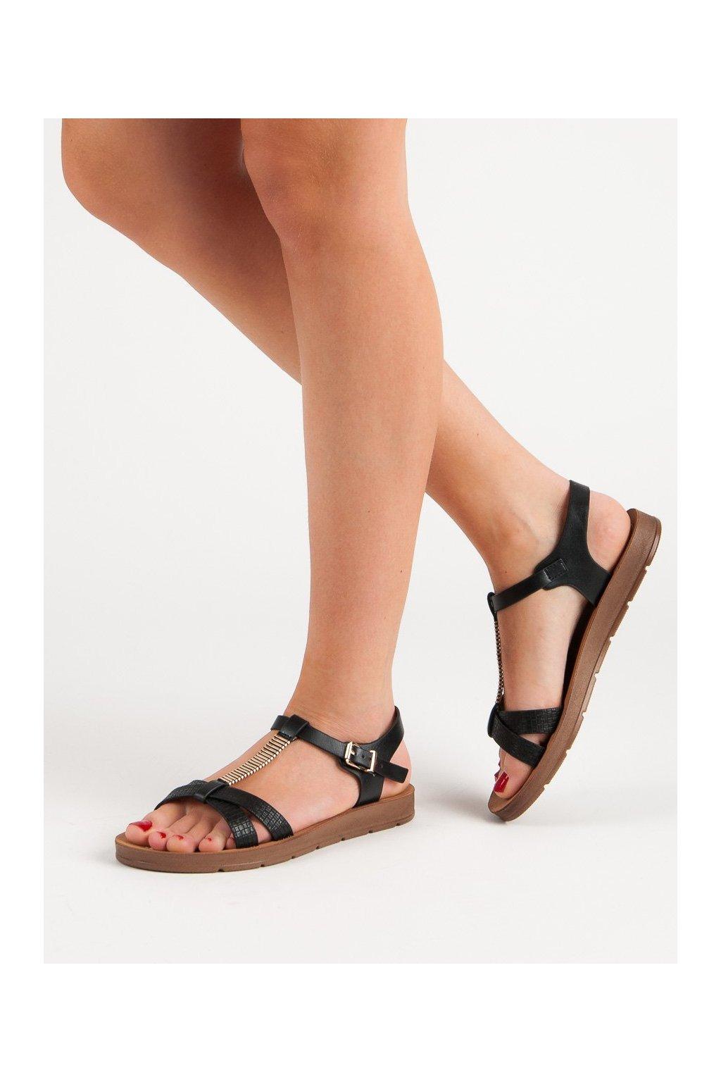 Čierne sandále s plochou podrážkou Filippo kod DS802/19B