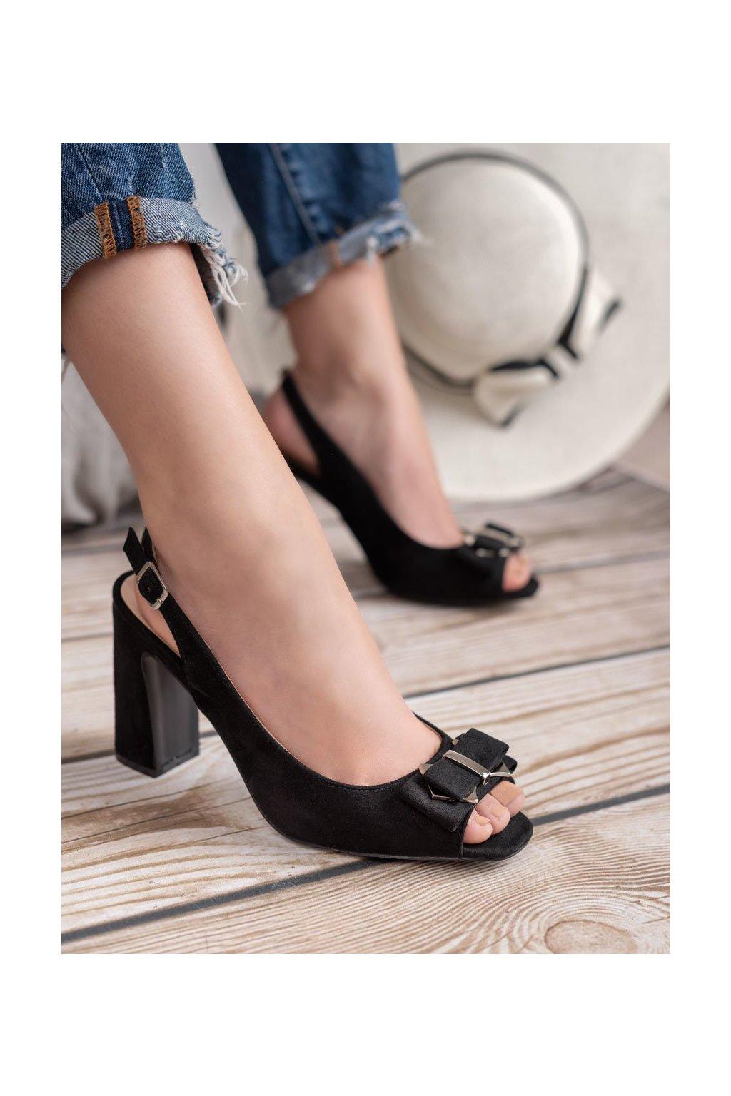 Čierne sandále na podpätku Shelovet kod YQE19-17006B