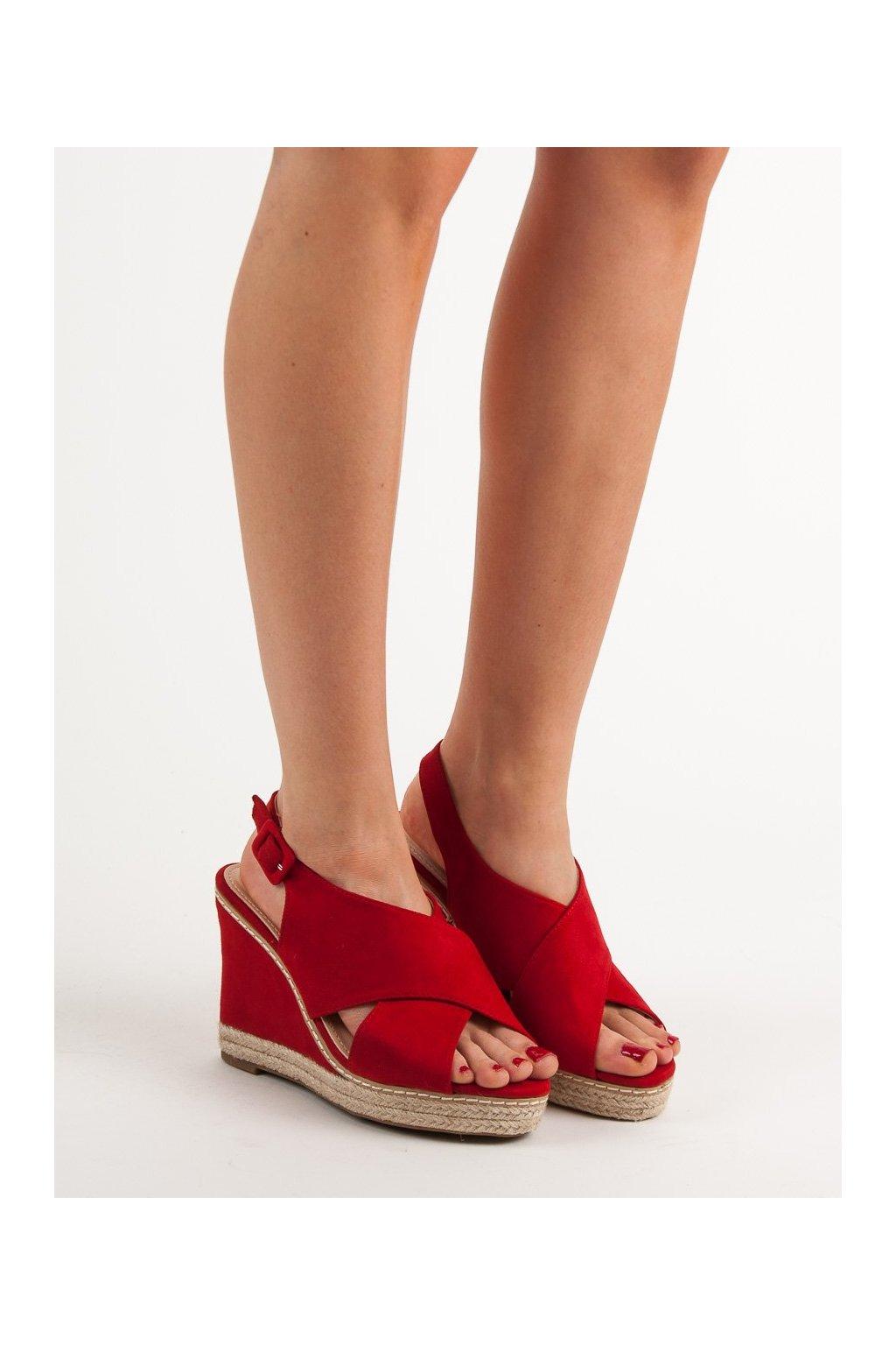 Červené sandále na platforme Anesia paris kod 66-368R