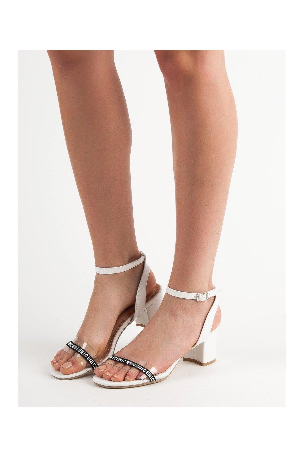 Biele sandále na hrubom podpätku Ideal shoes kod S-7347W