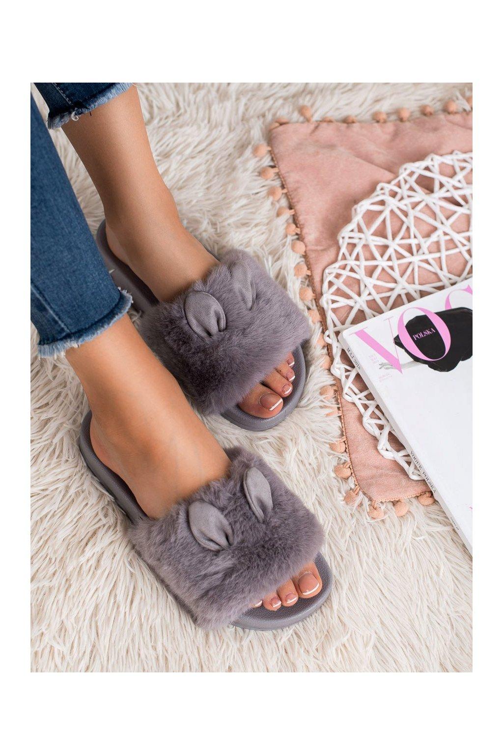 Sivé dámska obuv na doma - Vinceza kod OCA19-2149G