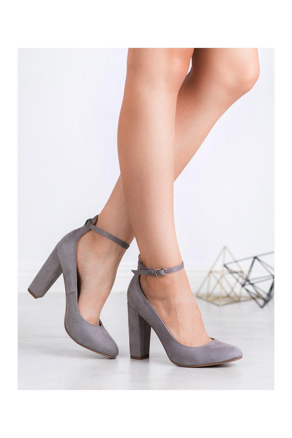 Sivé dámske lodičky na hrubom podpätku Ideal shoes kod P-6385G