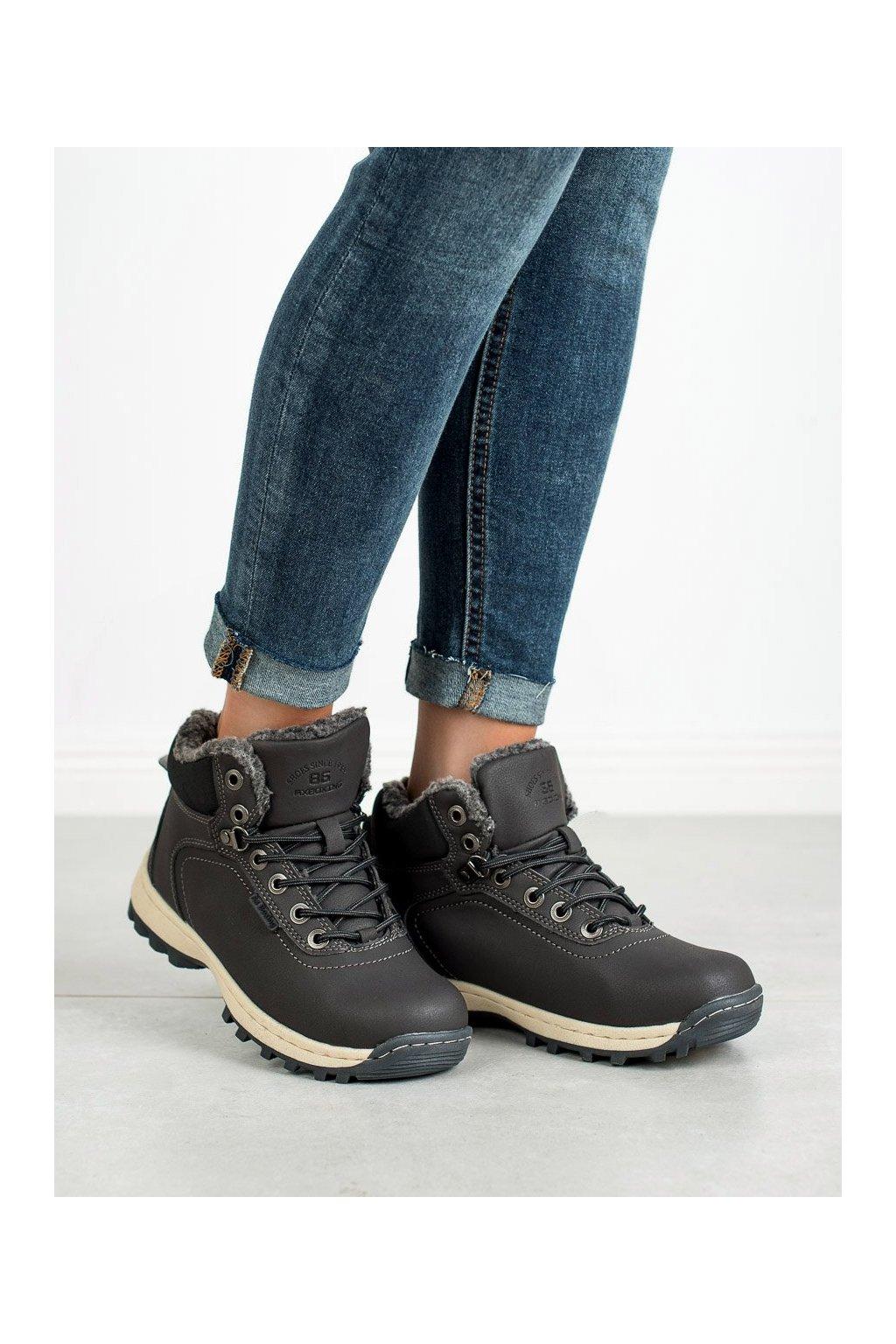 Sivé trekkingové dámske topánky Ax boxing kod BM97445-12D.G