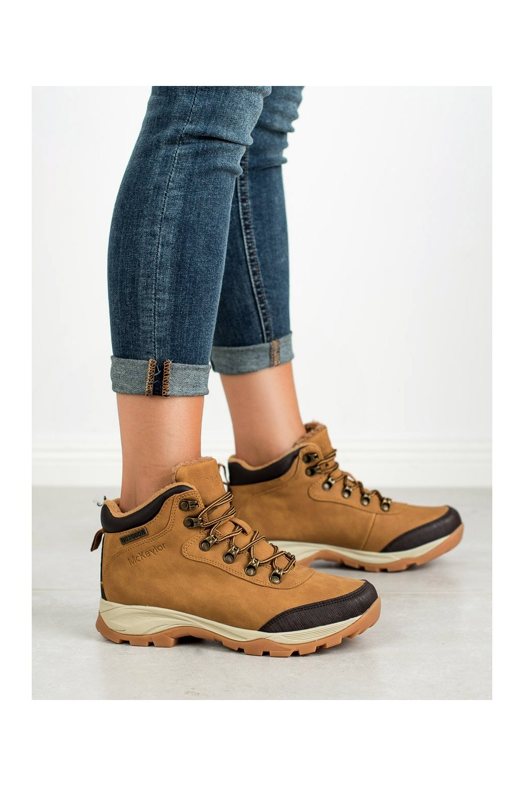 Hnedé trekkingové dámske topánky Mckeylor kod WAL19-12621C