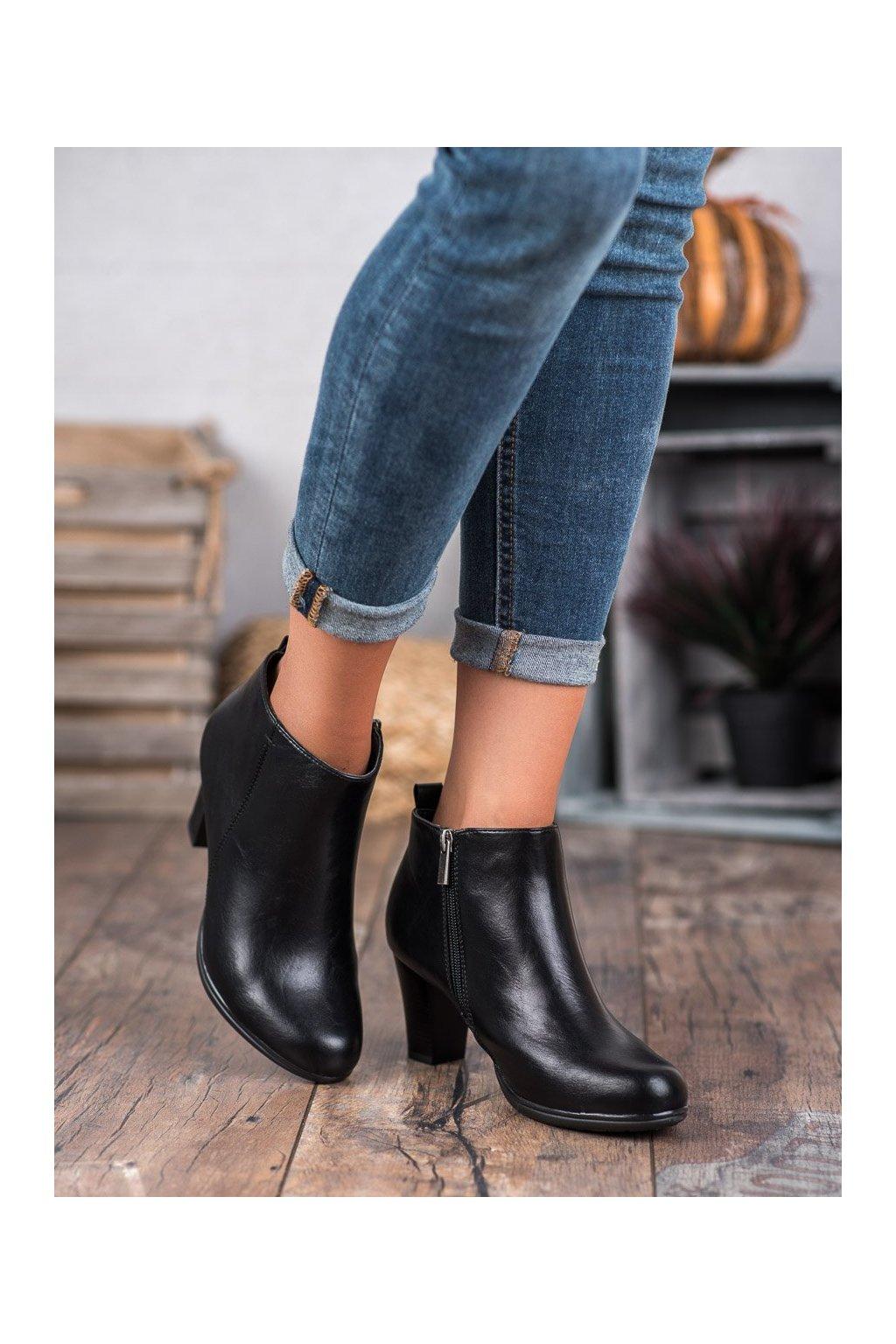 Čierne dámske topánky Vinceza kod XY20-10495B