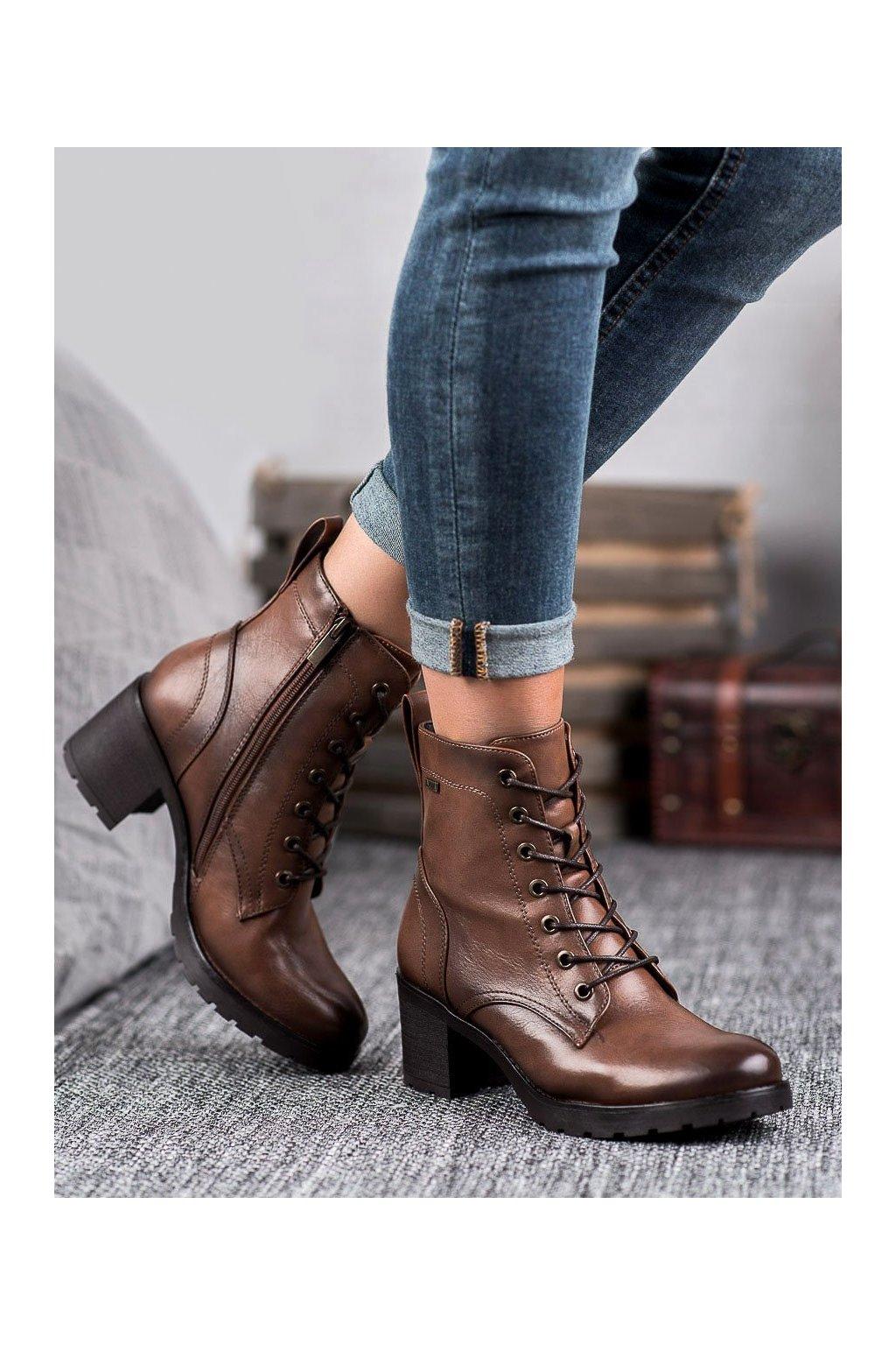 Hnedé dámske topánky Vinceza kod XY20-10458C