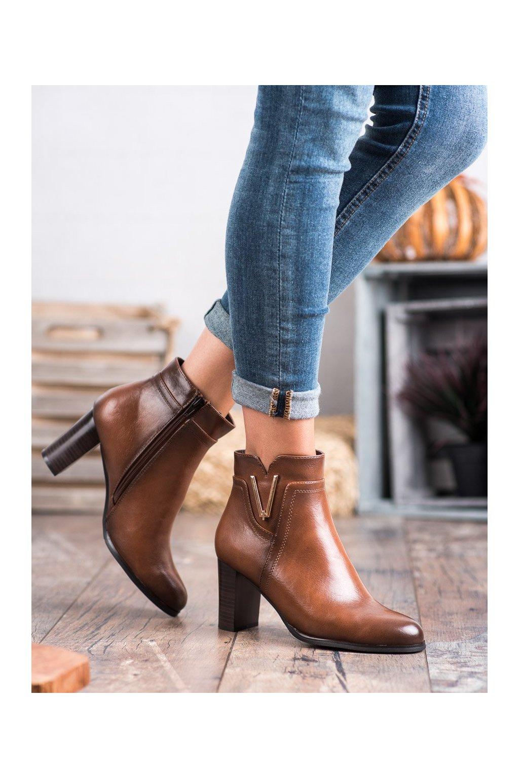Hnedé dámske topánky Vinceza kod XY20-10491C