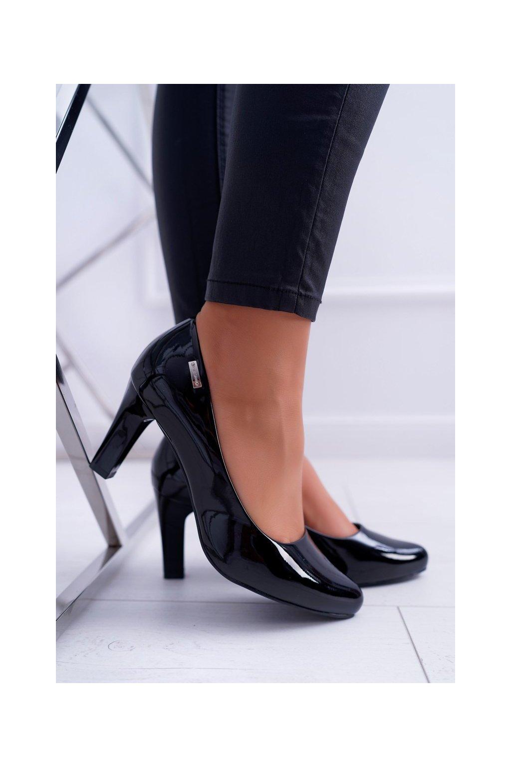 Dámske lodičky farba čierna kód obuvi 1459 BLK LAKIER