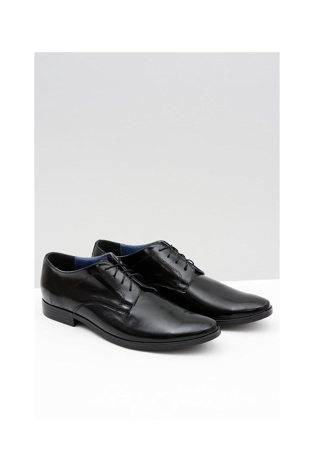 Pánske poltopánky farba čierna kód obuvi 393 BLK