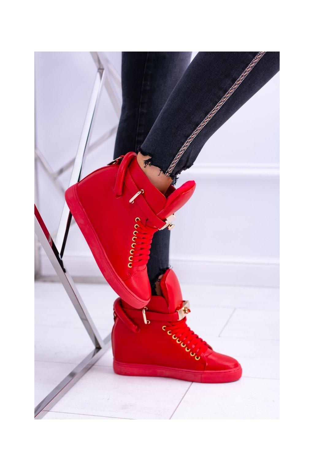Dámska obuv s teniskami Lu Boo zateplené zlatý vysiaci zámok červené