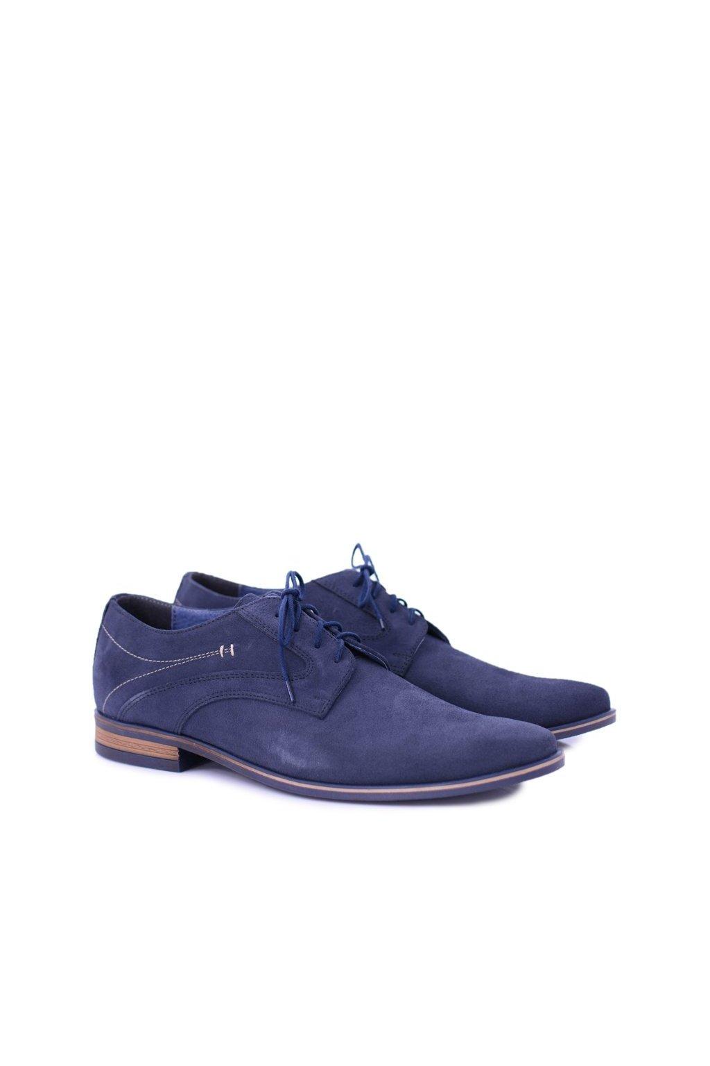 Pánske poltopánky farba modrá kód obuvi 481 NAVY SUEDE
