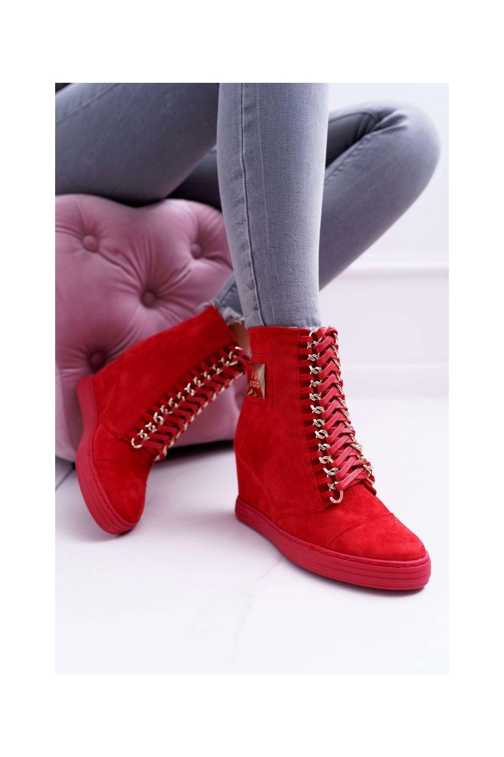 Dámska Obuv Sneakers Lu Boo Semišové Tenisky červené Monica