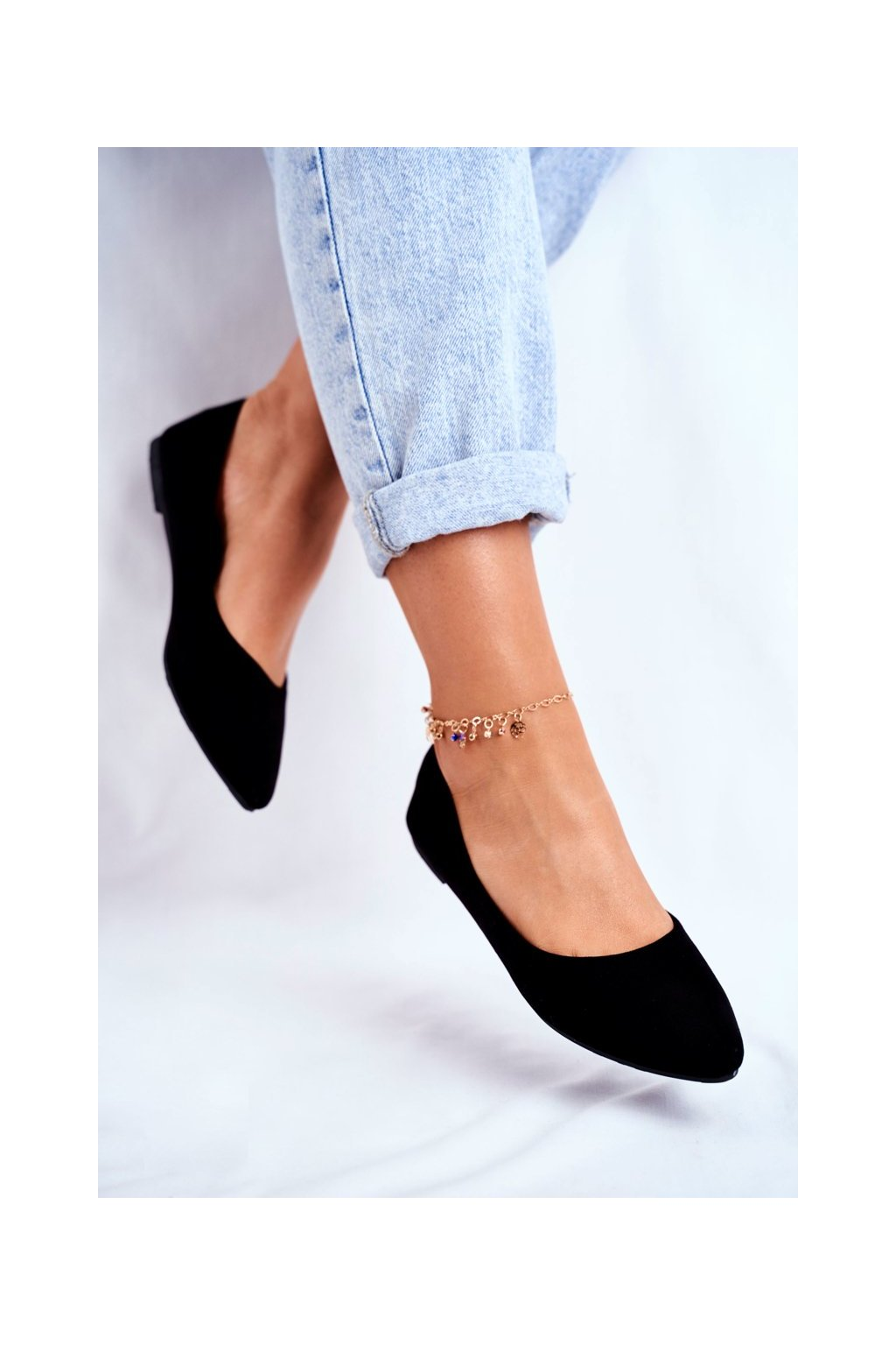 Dámske balerínky farba čierna kód obuvi CC212 BLK