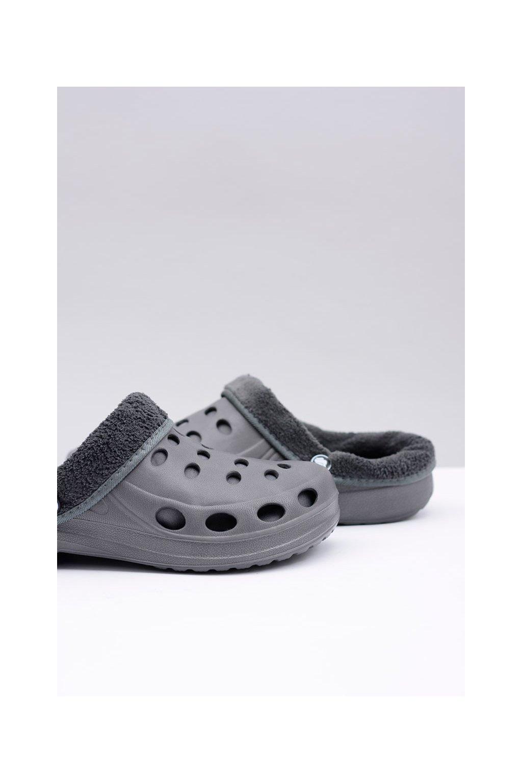 pánske Klasické šľapky Sandále Teplé sivé Crocsy EVA