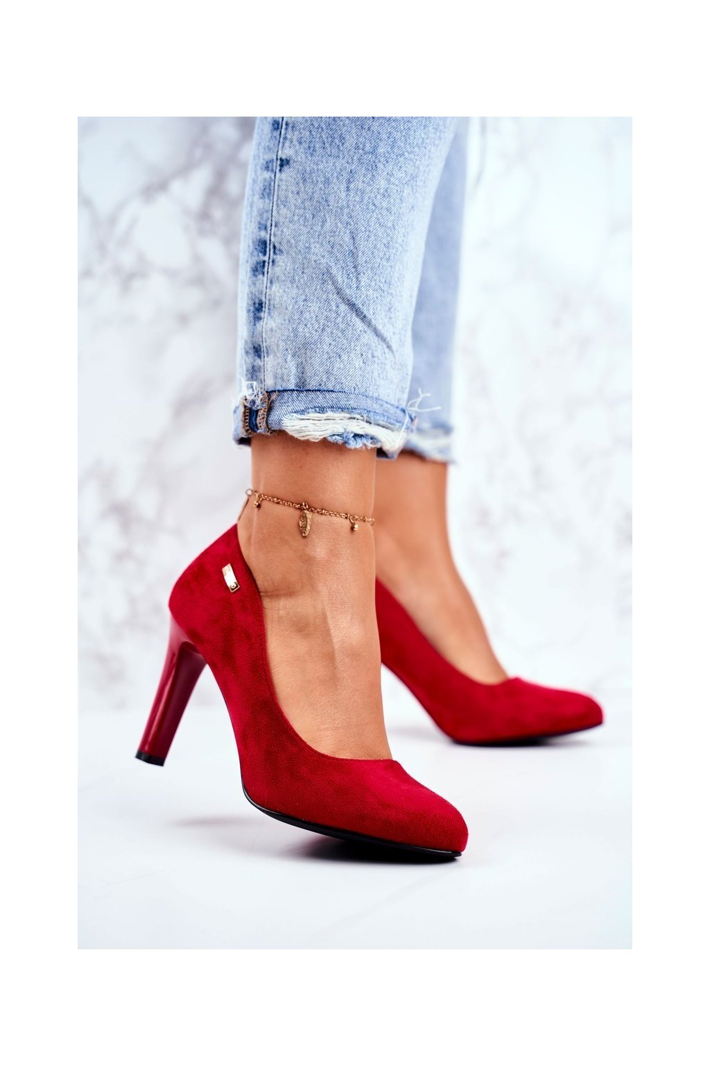 Dámske lodičky farba červená kód obuvi 1457 C.CZERWONY MIC