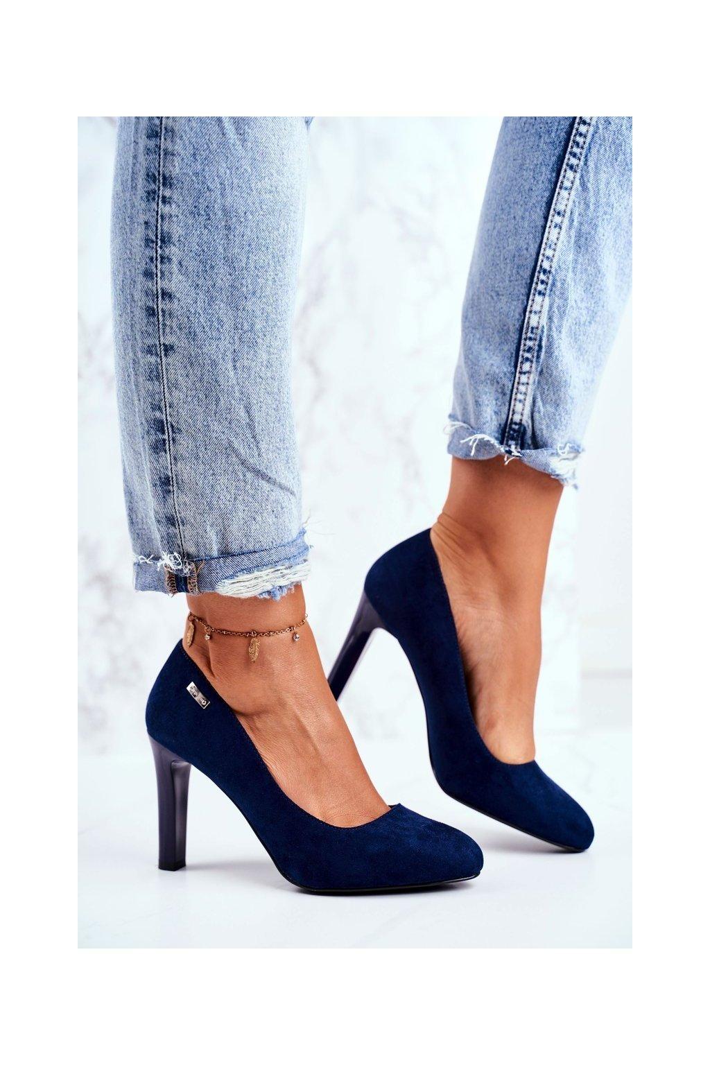 Dámske lodičky farba modrá kód obuvi 1457 GRANAT MIC