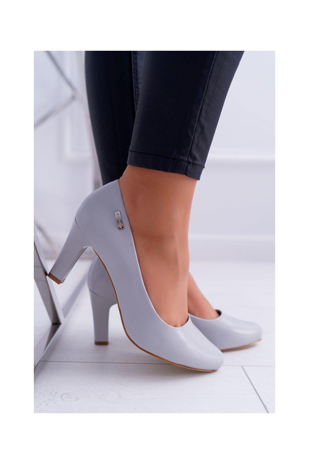 Dámske lodičky farba sivá kód obuvi 1459 GREY PU