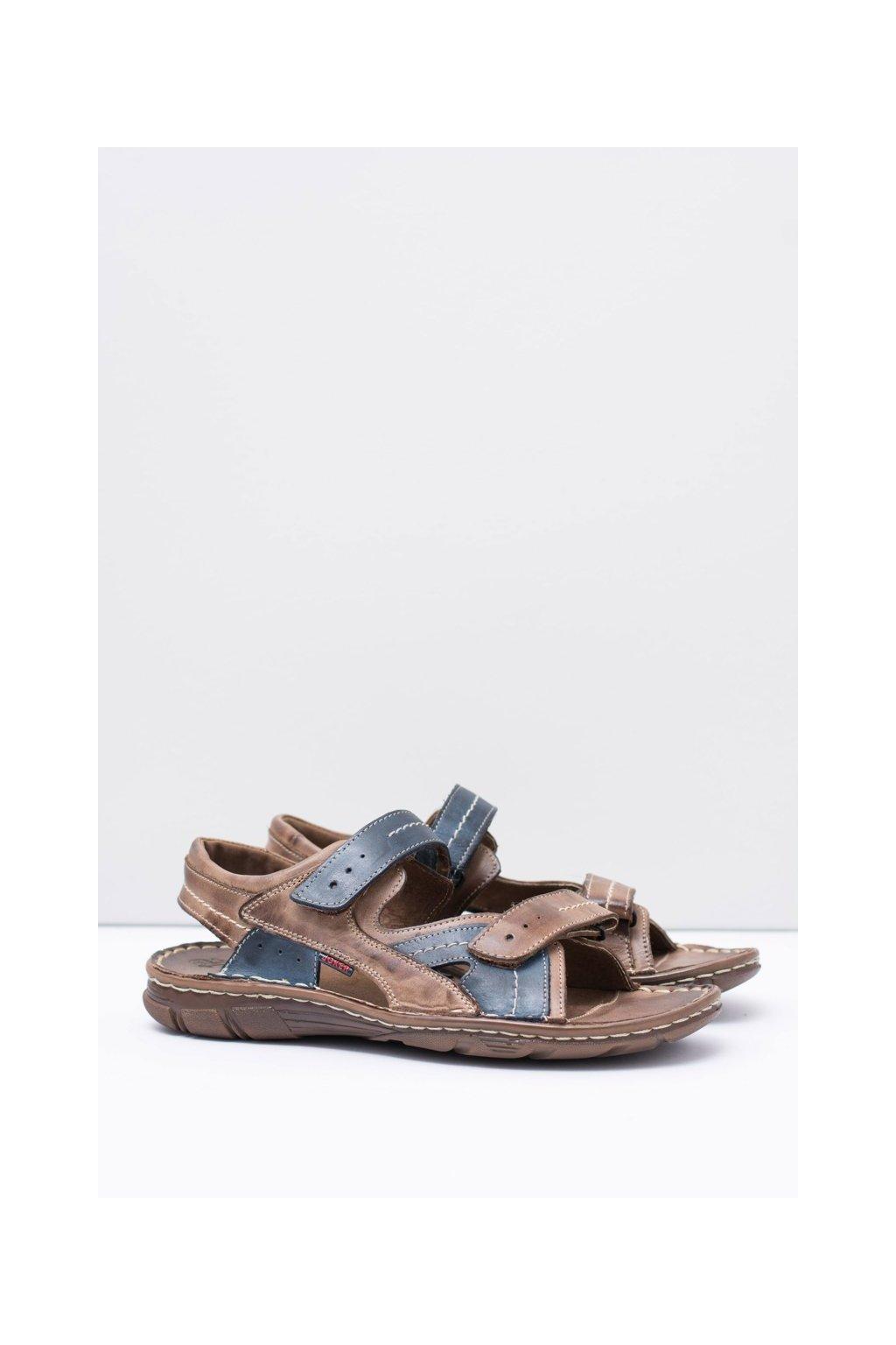 Kožené pánske hnedé sandále so suchým zipsom Jeremi