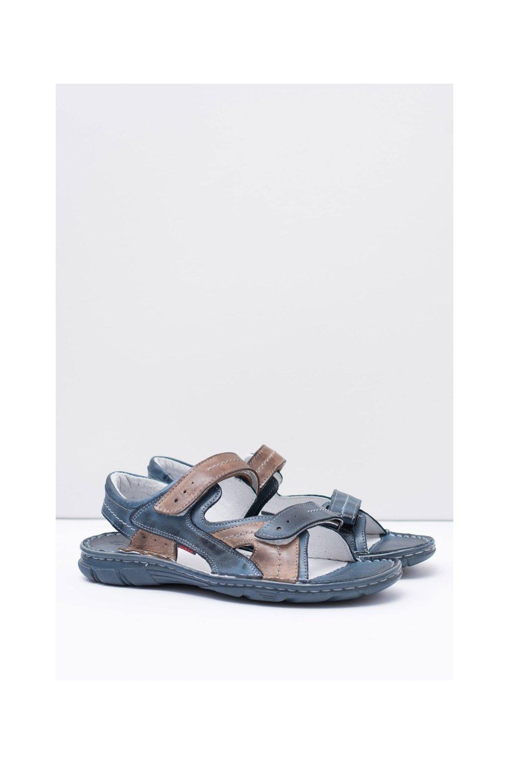 Kožené pánske námornícke sandále so suchým zipsom Jeremi