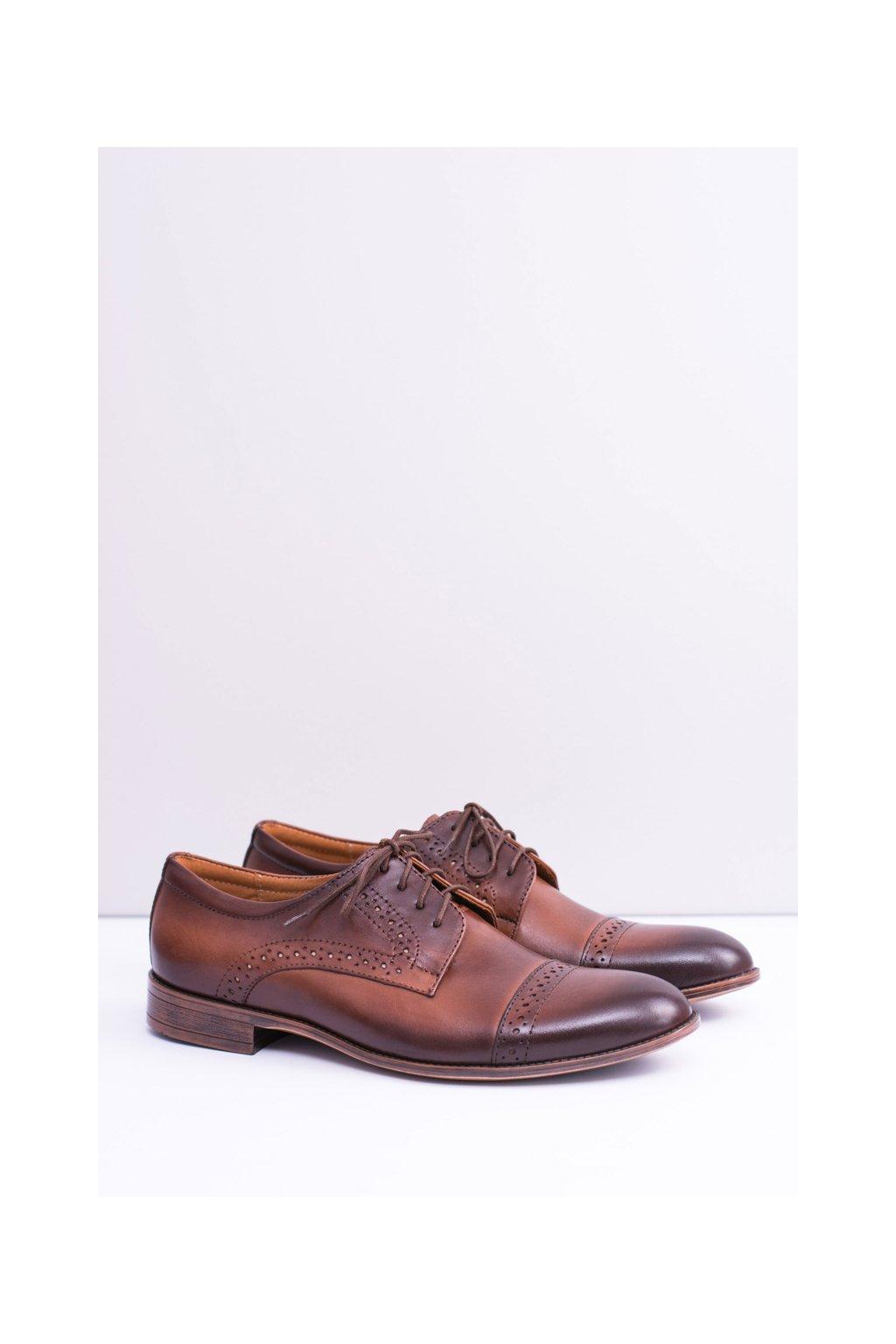 Formálne pánske kožené topánky Gerard hnedé