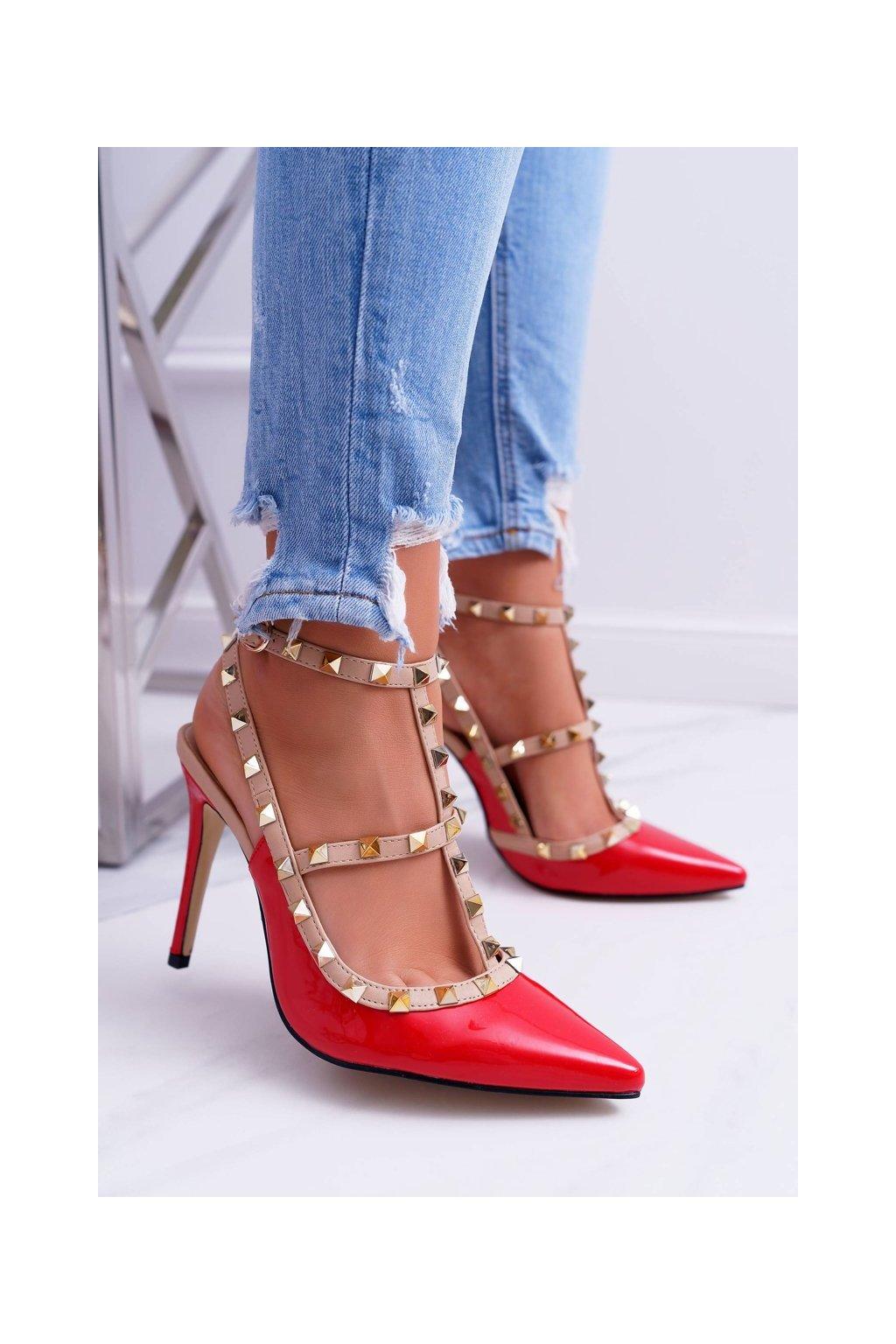 Dámske lodičky farba červená kód obuvi 1166-19 RED