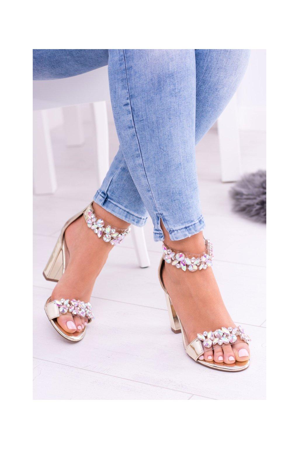 Lu Boo zlaté zrkadlové Sandále Zirkony Lambada