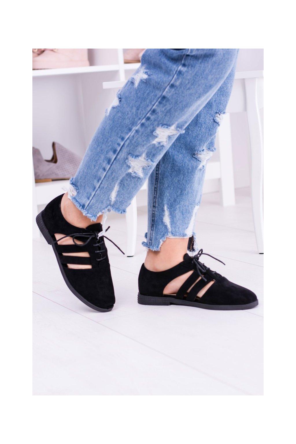 Lu Boo čierne topánky s výrezmi Passion