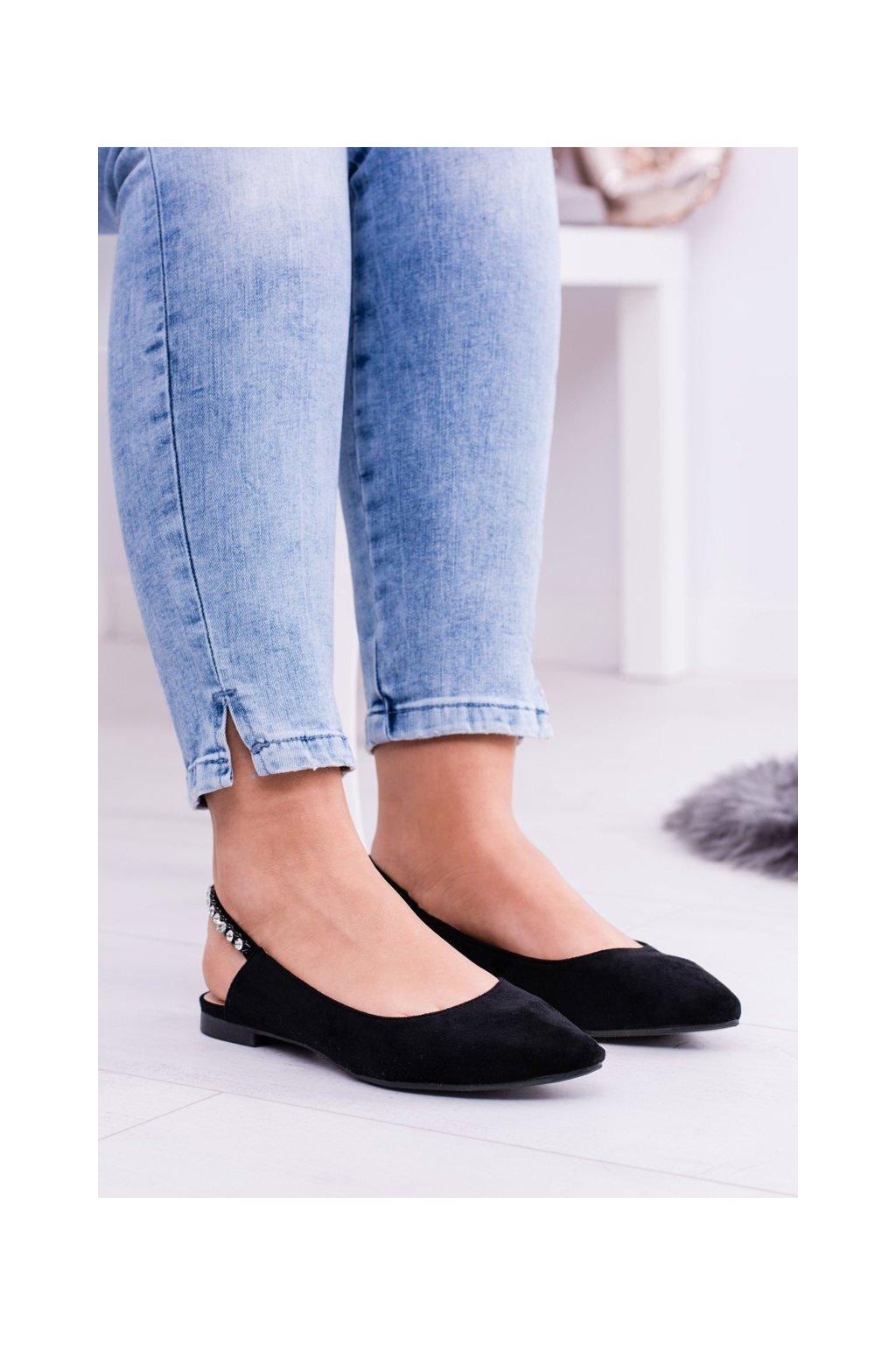 Dámske balerínky farba čierna kód obuvi 128-127 BLK