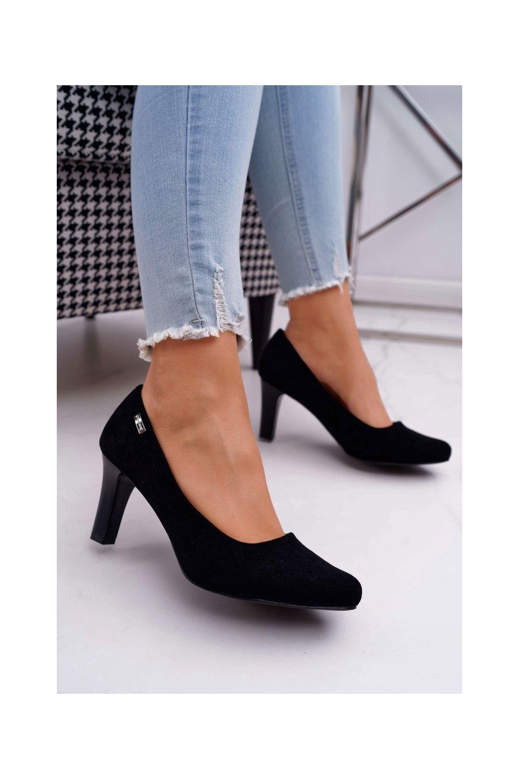 Dámske lodičky farba čierna kód obuvi 1459 BLK SUEDE