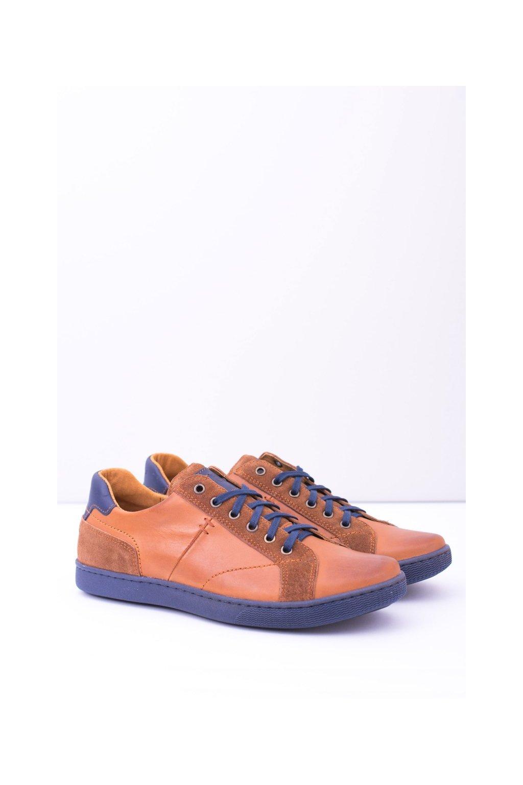 Hnedé kožené pánske topánky Ender