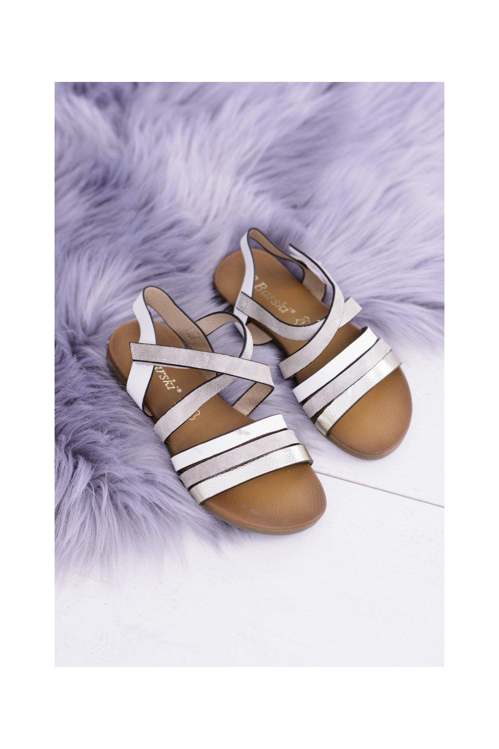 Detské biele sandále na suchý zips LittleReneto