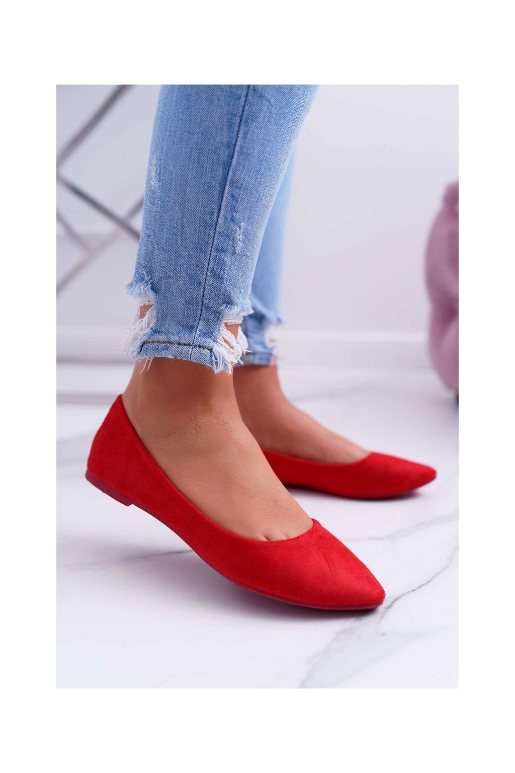 Dámske balerínky farba červená kód obuvi C81P RED