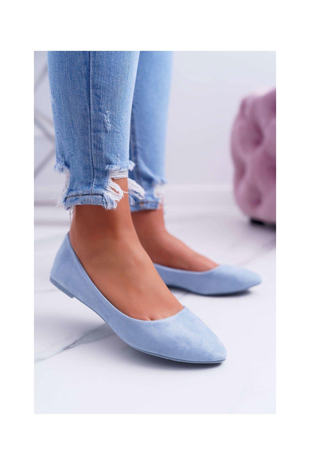 Svetlo modré dámske baleríny semišové Bueno