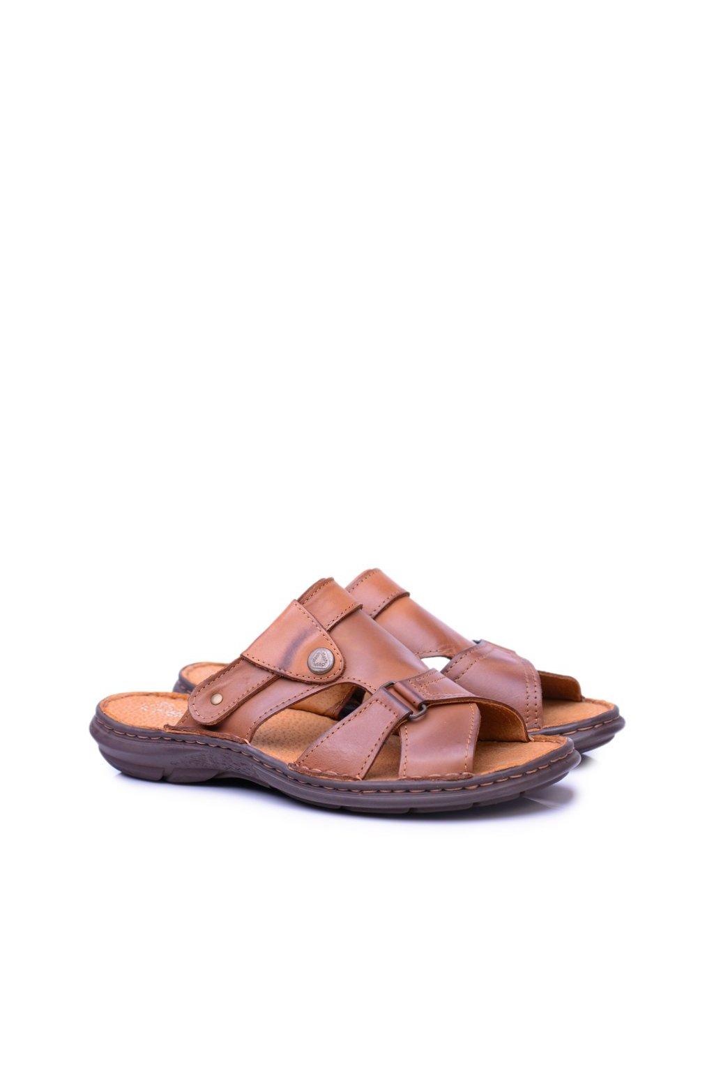 Kožené hnedé pánske žabky a Sandále 2in1 Hideki