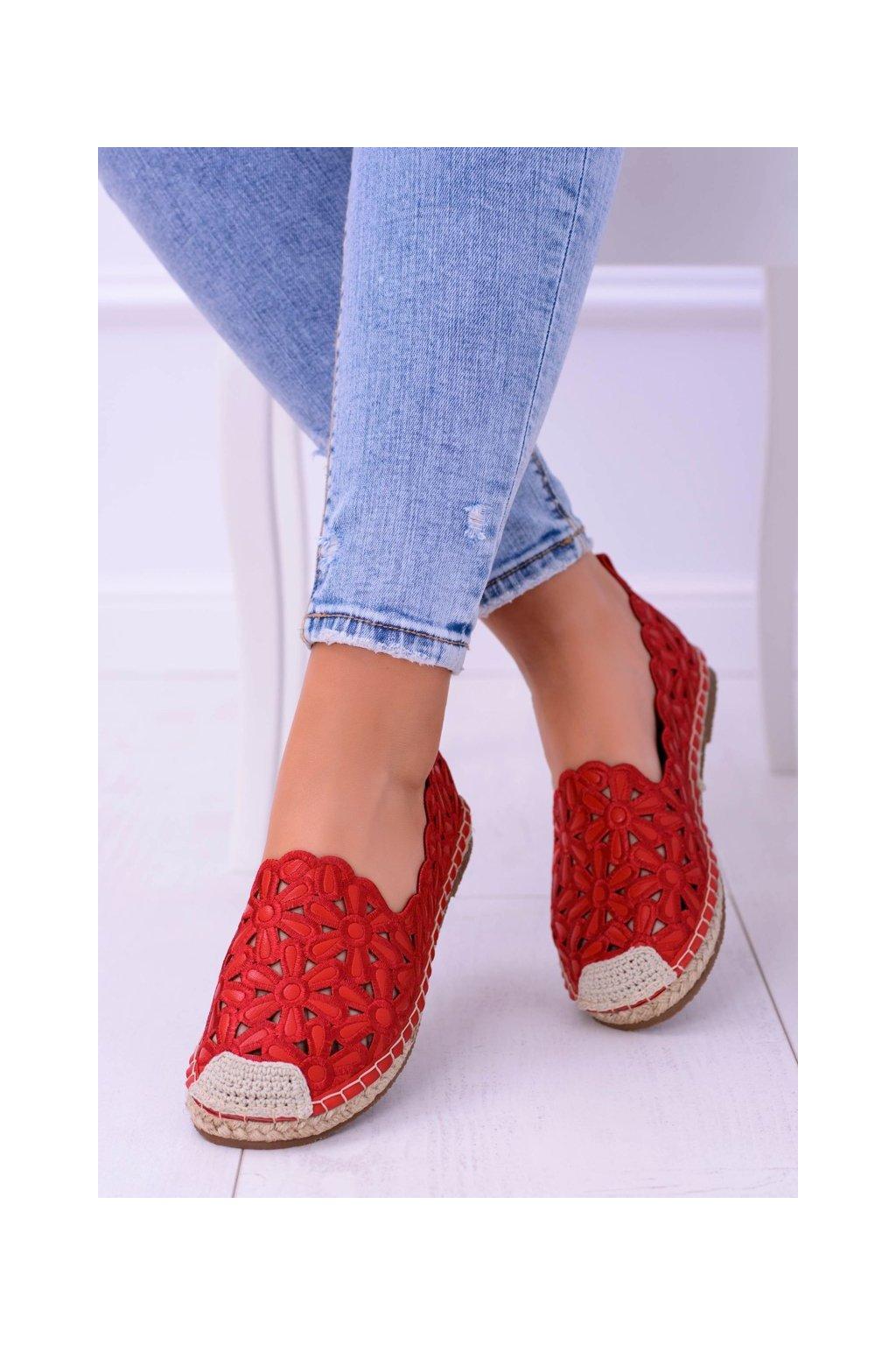 Dámske espadrilky farba červená kód obuvi 2018-B6 RED