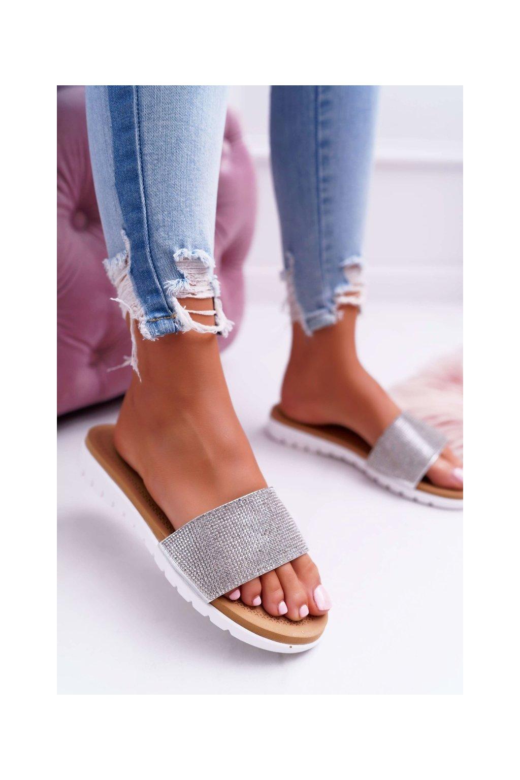 Dámske šľapky farba sivá kód obuvi 406-2 SILVER