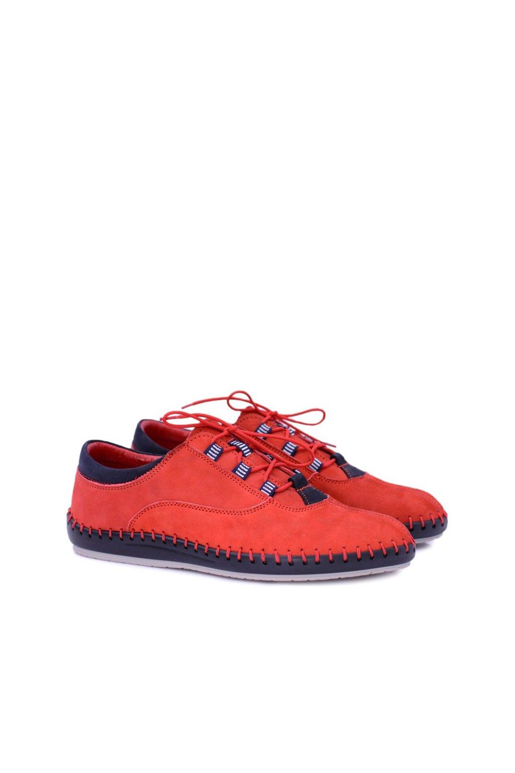 Pánske kožené bežné červené topánky Bill