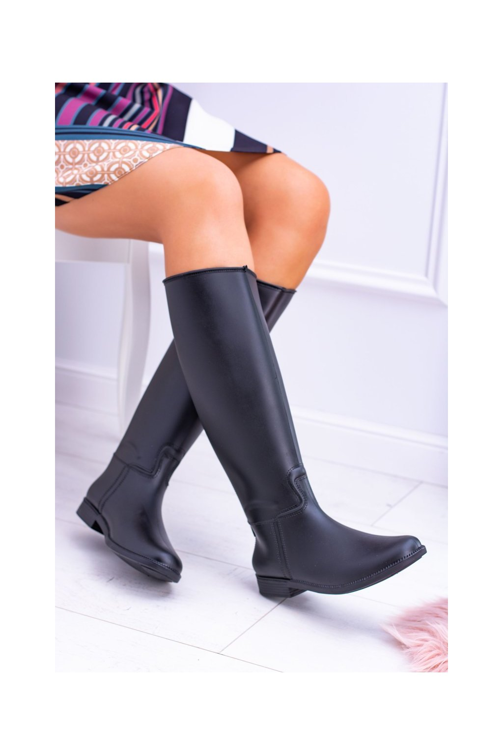 Čierne vysoké topánky gumáky Hoolin