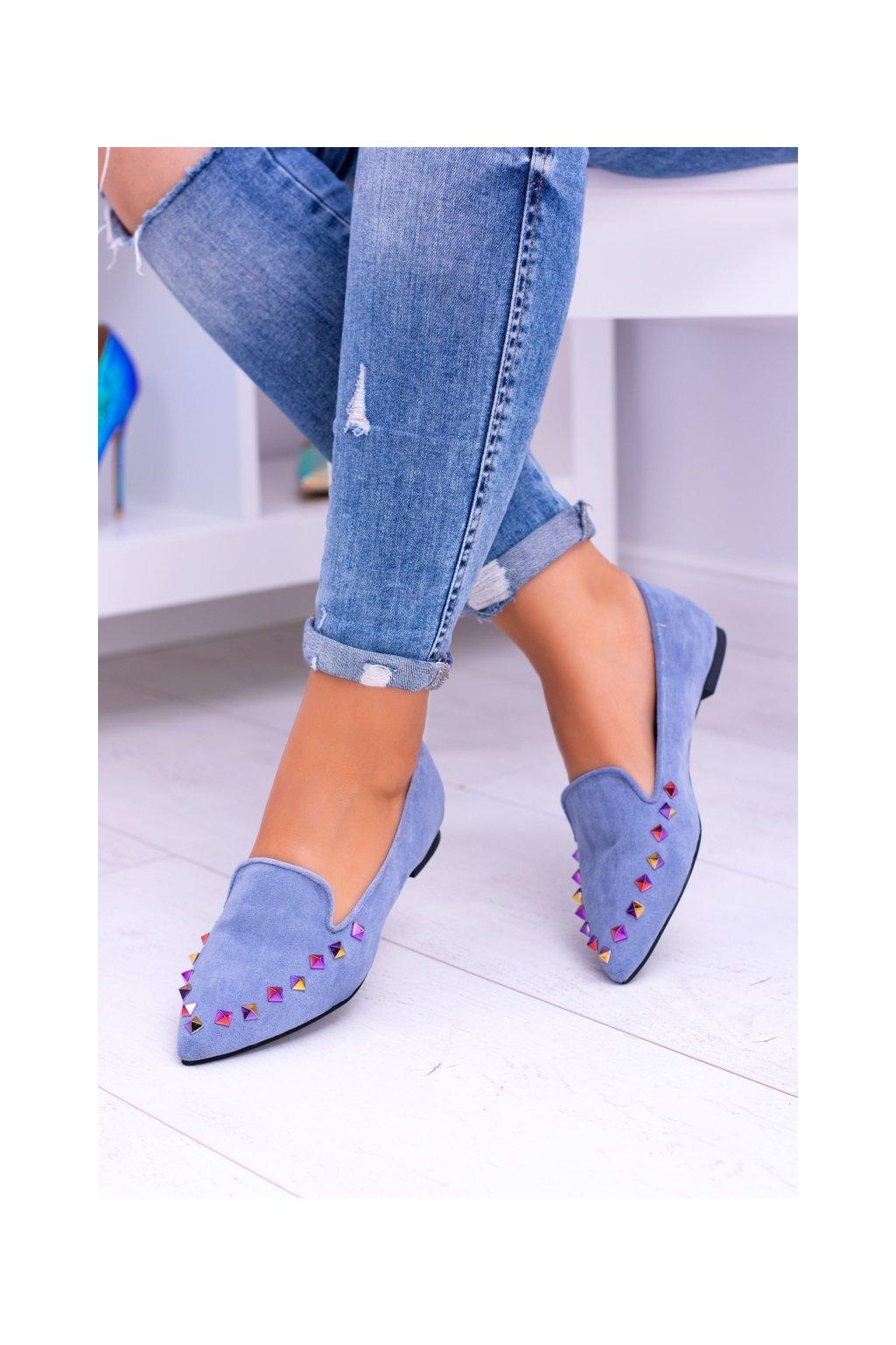 Dámske balerínky farba modrá kód obuvi 128-A5 BLUE
