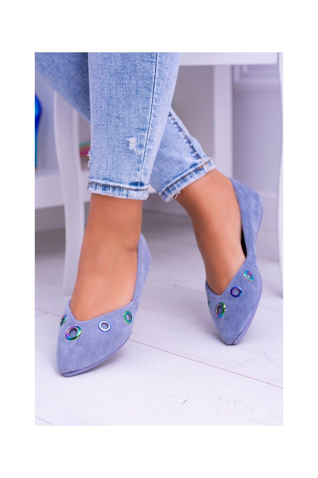 Dámske balerínky farba modrá kód obuvi 009-3 BLUE