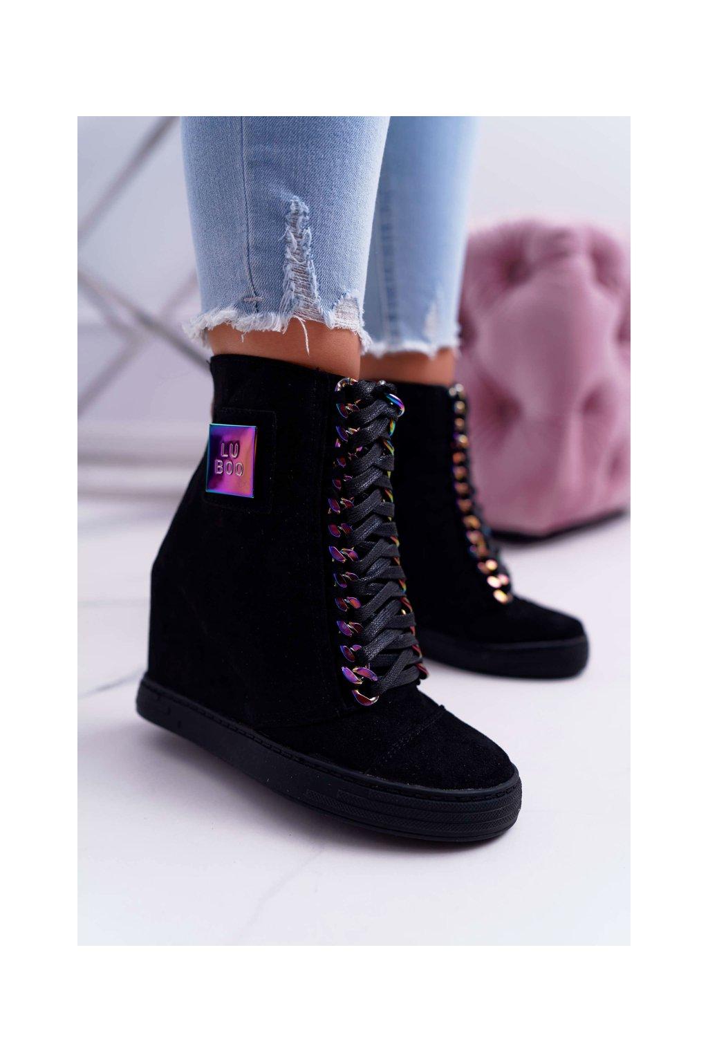 Dámska obuv sneakers Lu Boo čierna hrajúca dúhovými farbami Monica