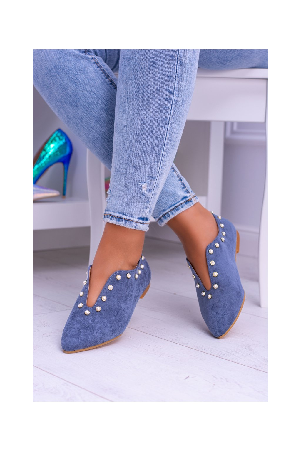 Dámske poltopánky farba modrá kód obuvi 978-B1B BLUE