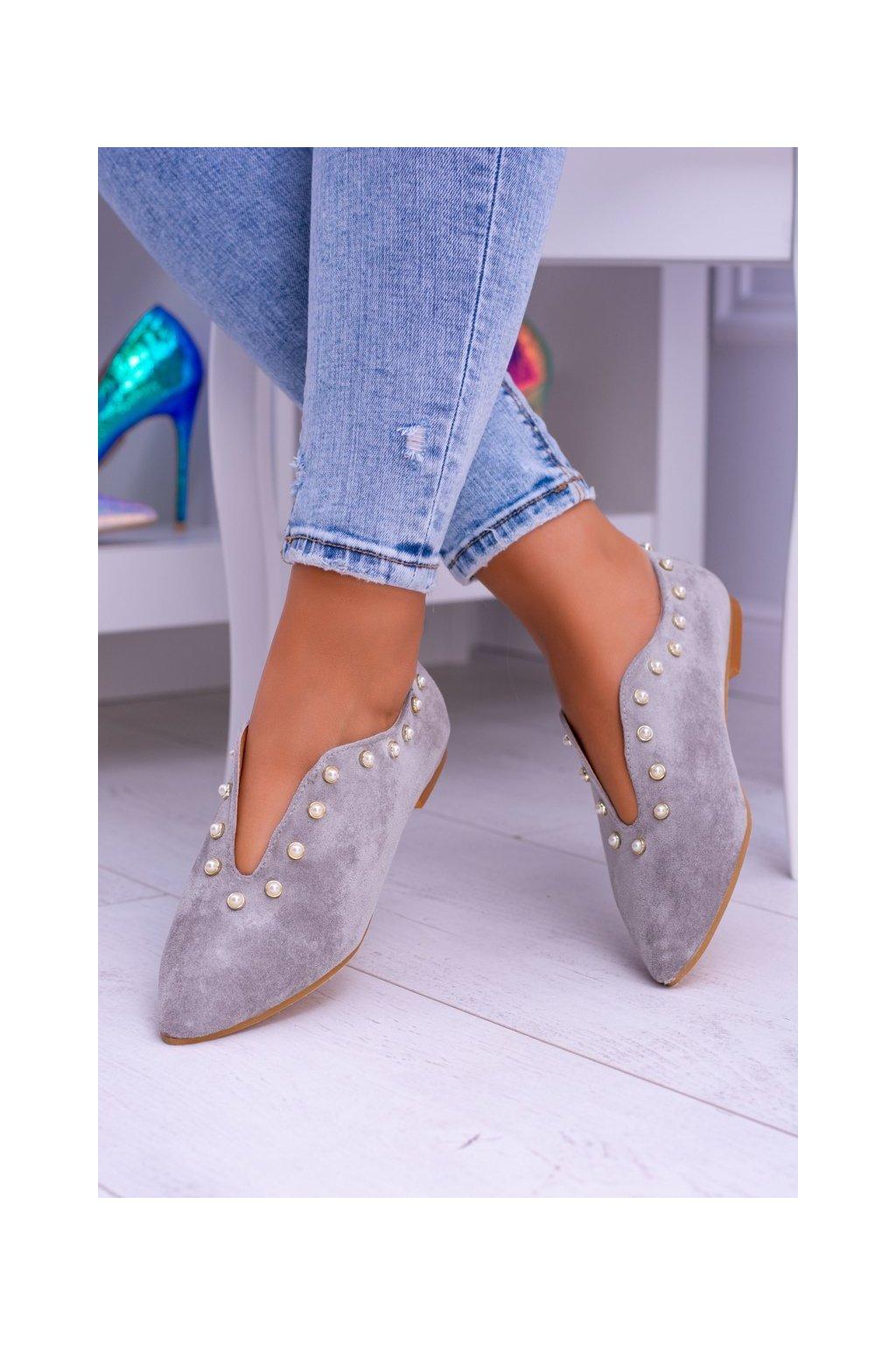 Dámske poltopánky farba sivá kód obuvi 978-B1B GREY