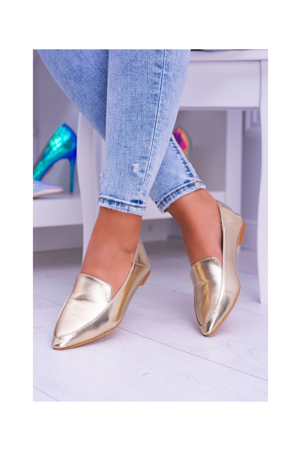 Dámske mokasíny farba žltá kód obuvi 978-TT6 GOLD