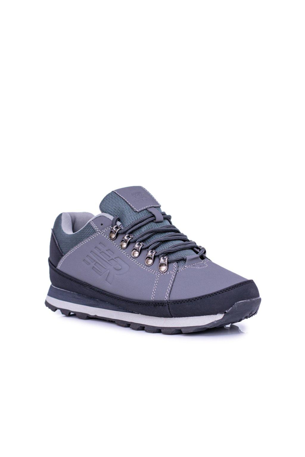 Pánske trekingové topánky farba sivá kód obuvi 9ACH-17000 GREY/BLK